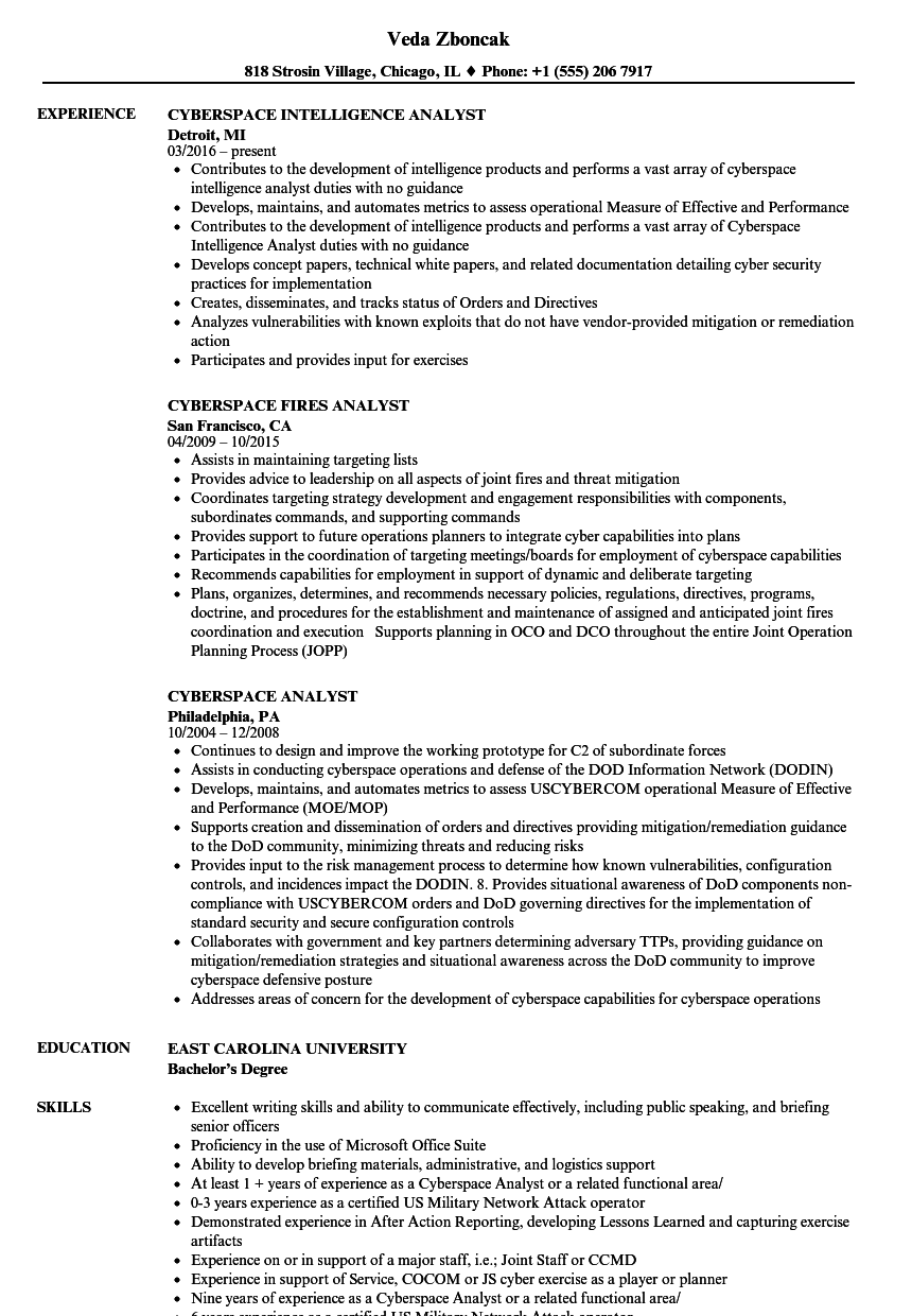 cyberspace analyst resume samples