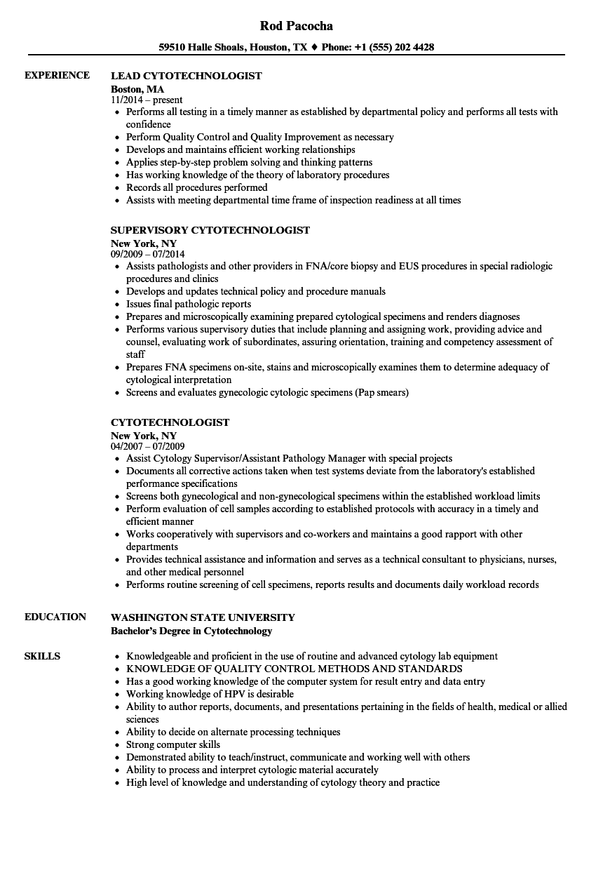Cytotechnologist Resume Samples Velvet Jobs