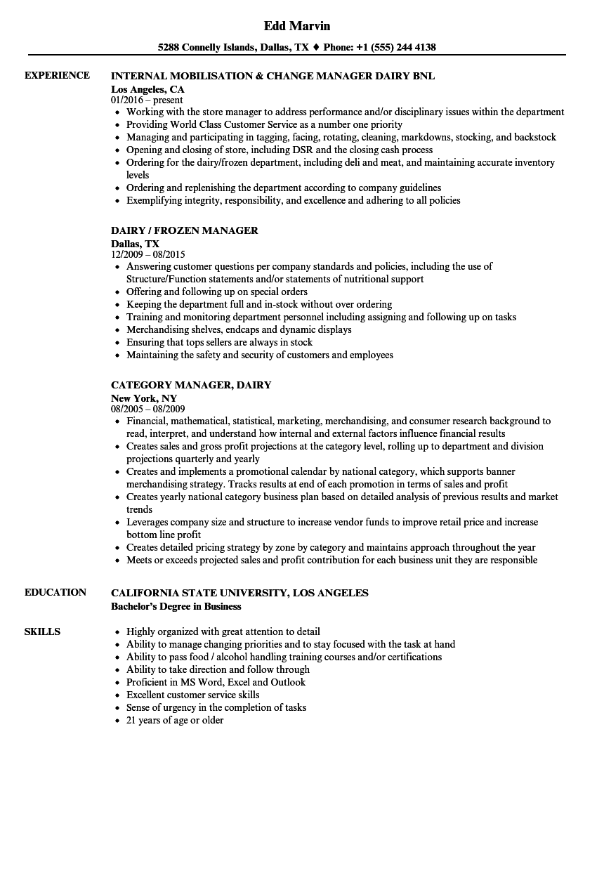 dairy manager resume samples