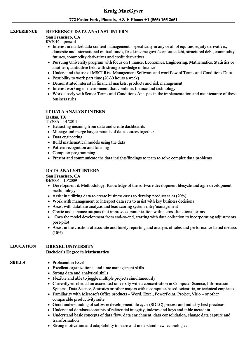 download data analyst intern resume sample as image file - Sample Resume Actuarial Student