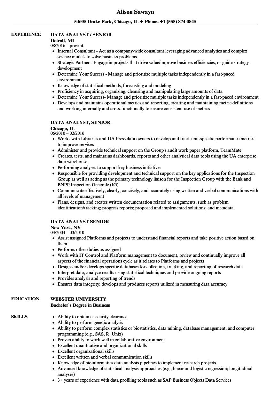 Data Analyst Senior Resume Samples Velvet Jobs