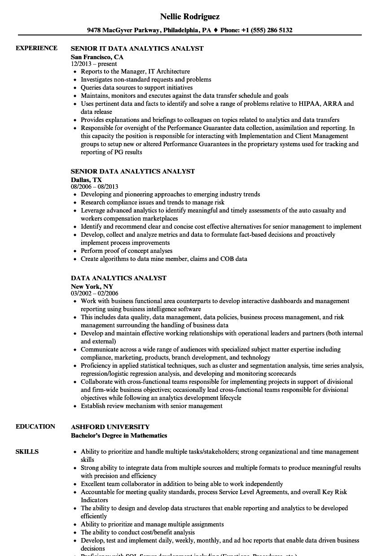 data analytics analyst resume samples