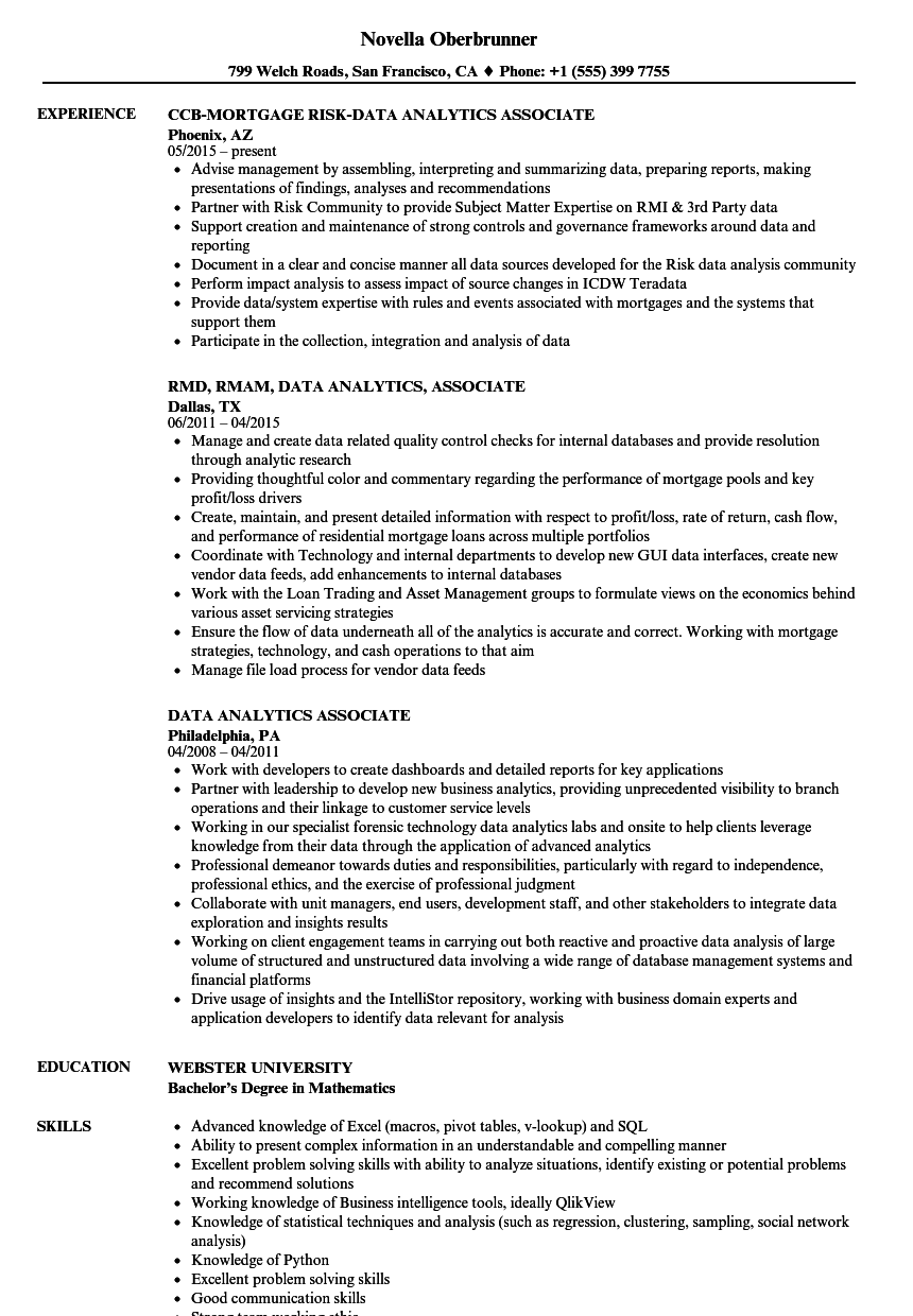 data analytics associate resume samples