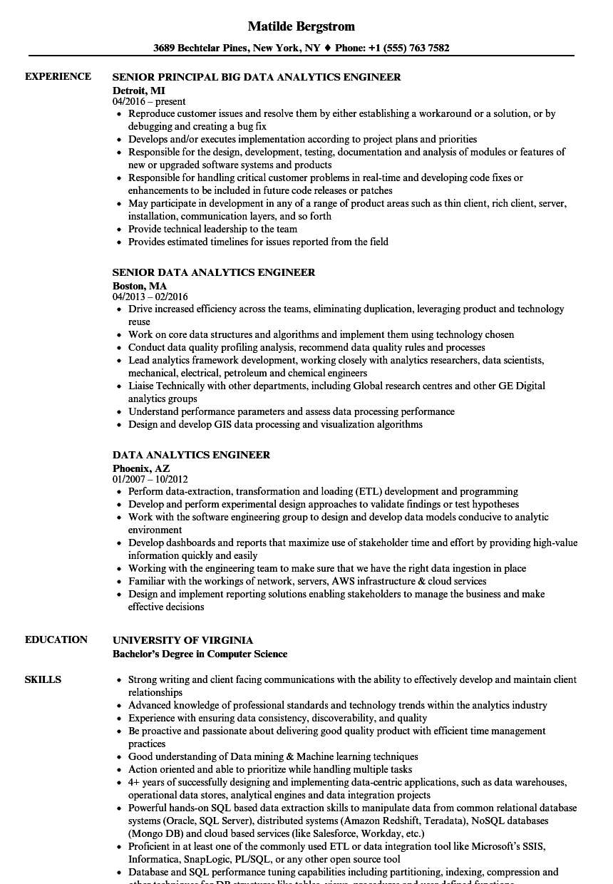 data analytics engineer resume samples