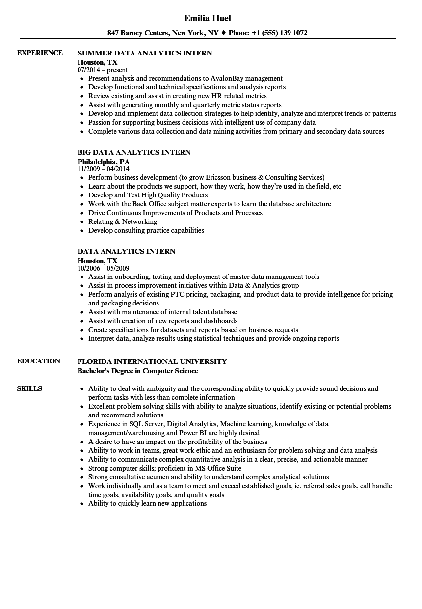 Data Analytics Intern Resume Samples Velvet Jobs