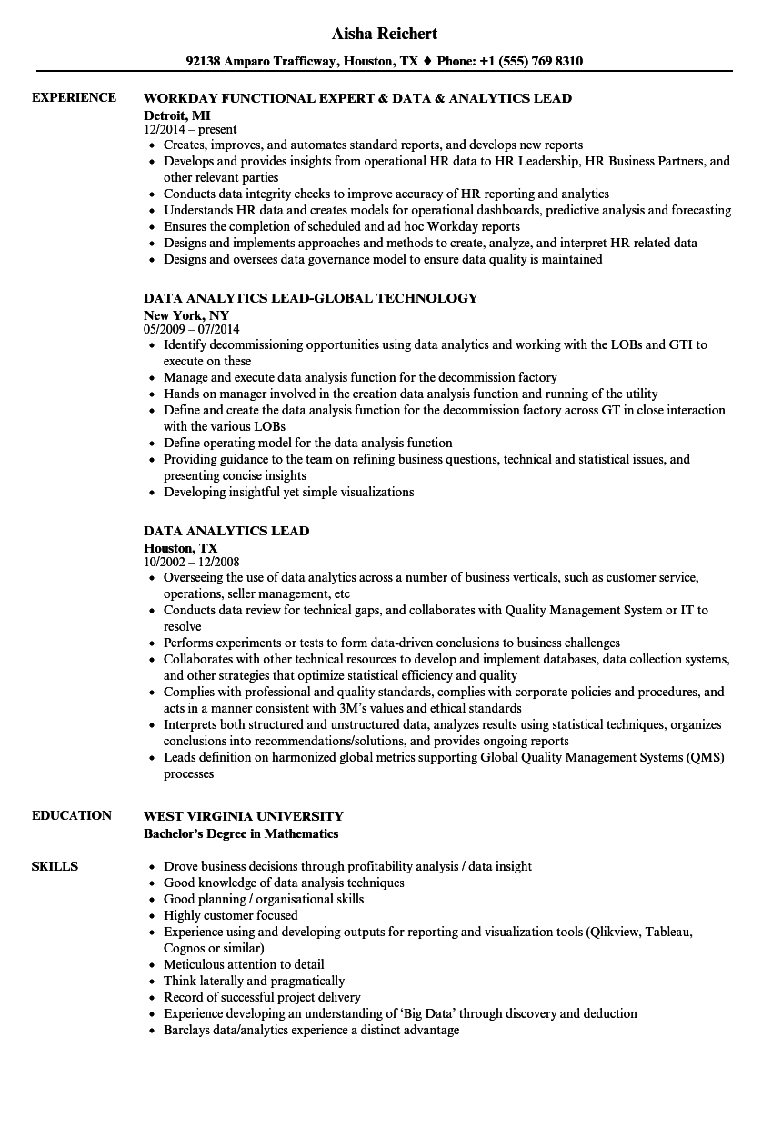 Data Analytics Lead Resume Samples | Velvet Jobs