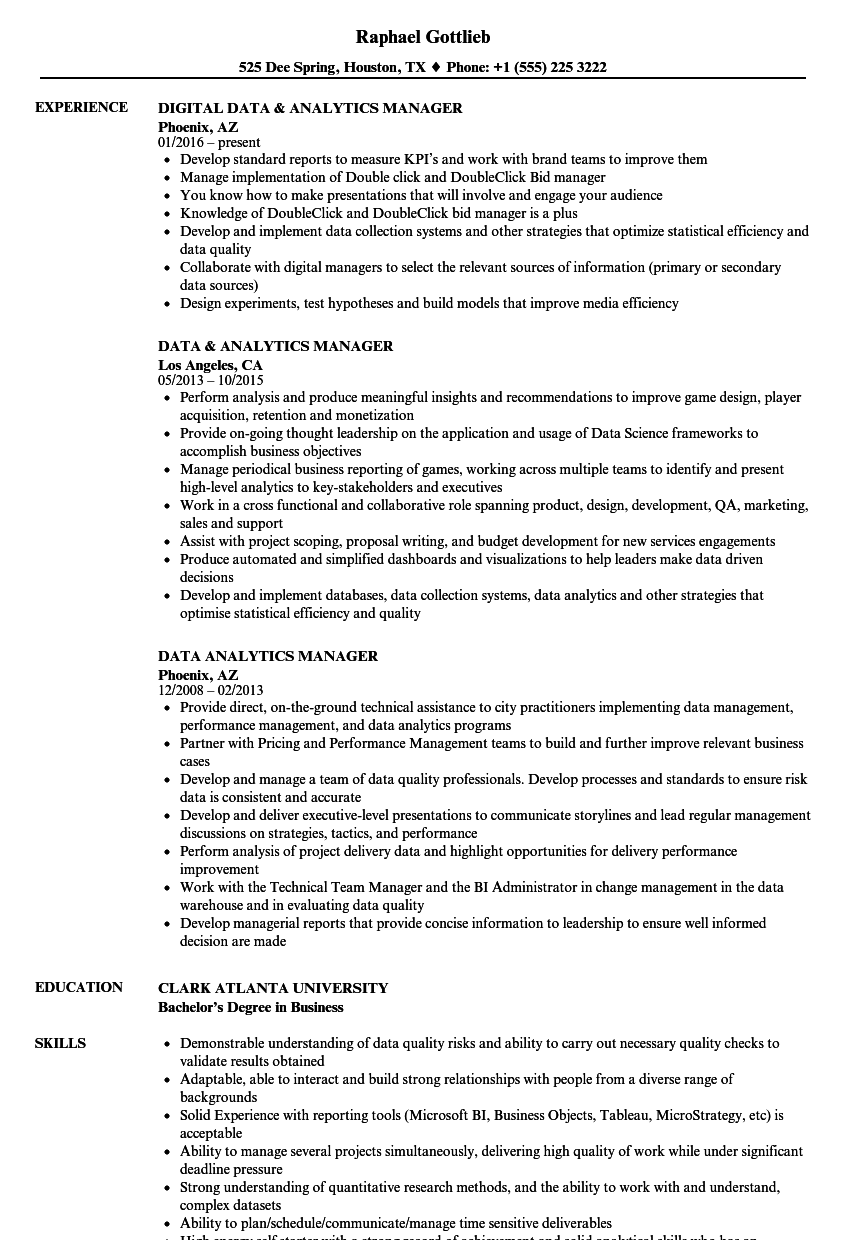 Data Analytics Manager Resume Samples | Velvet Jobs