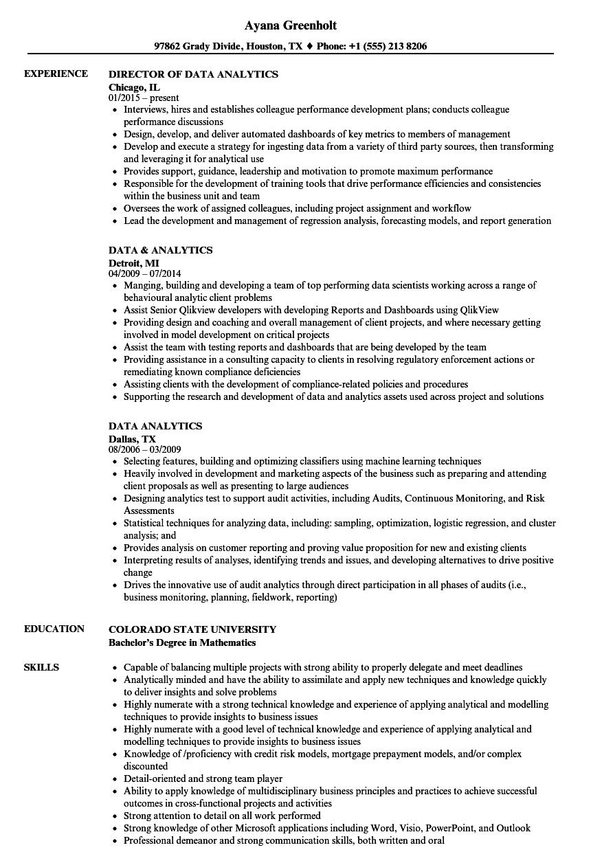 data analytics resume samples