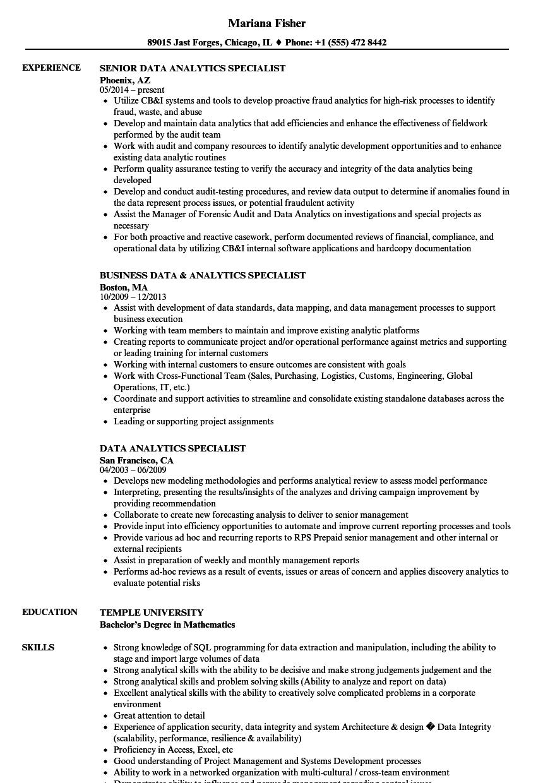 data analytics specialist resume samples