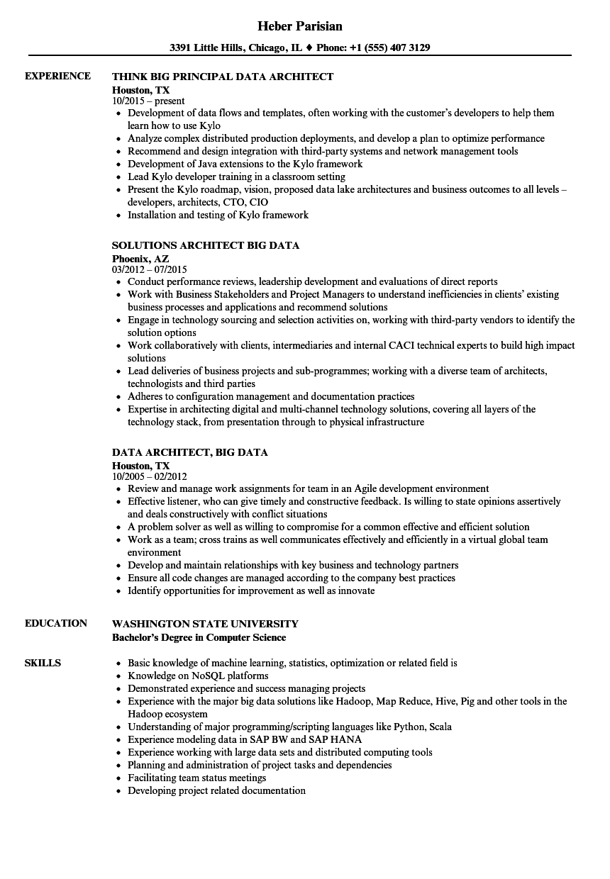 Data Architect, Big Data Resume Samples | Velvet Jobs
