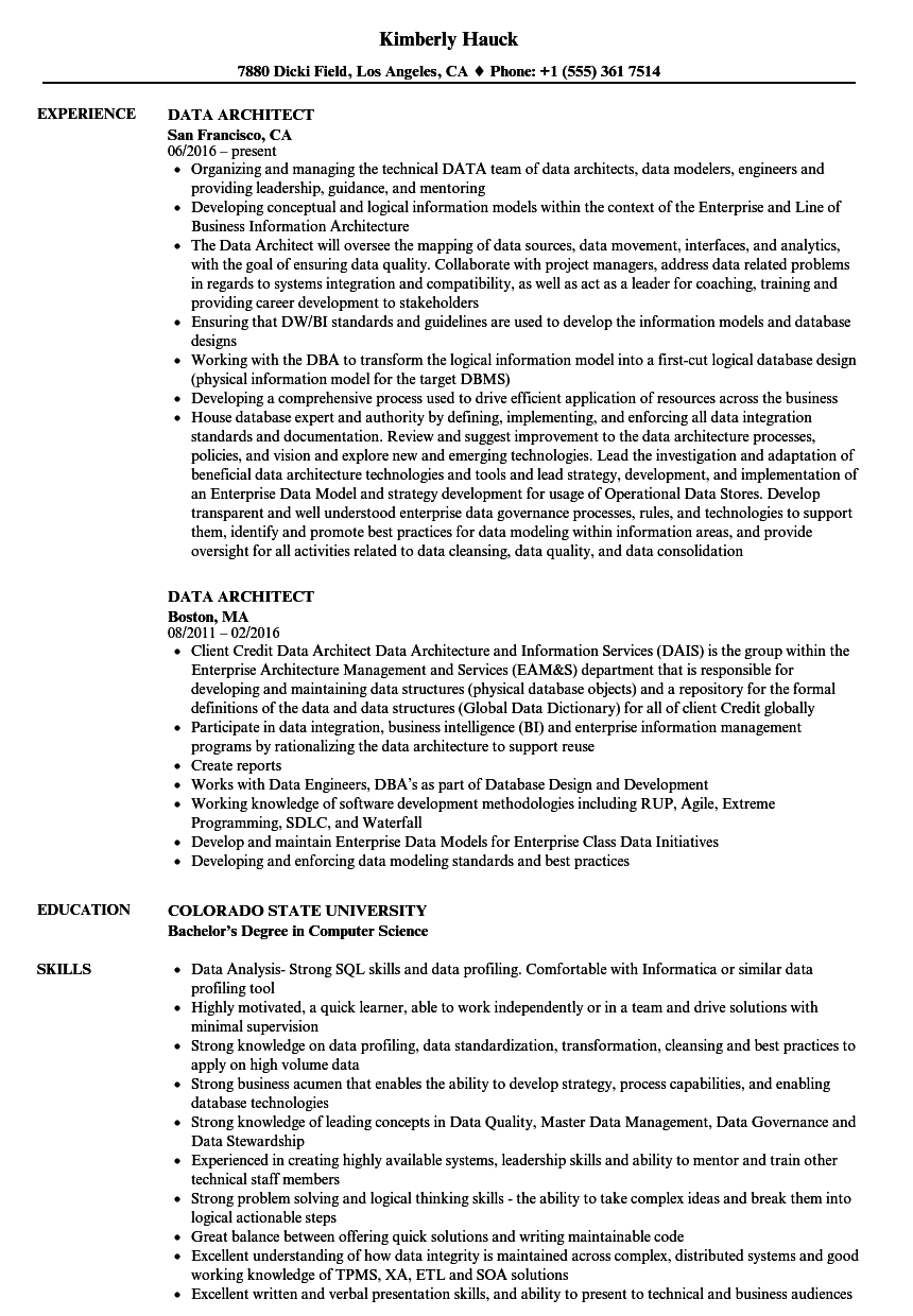 Data Architect Resume Samples | Velvet Jobs