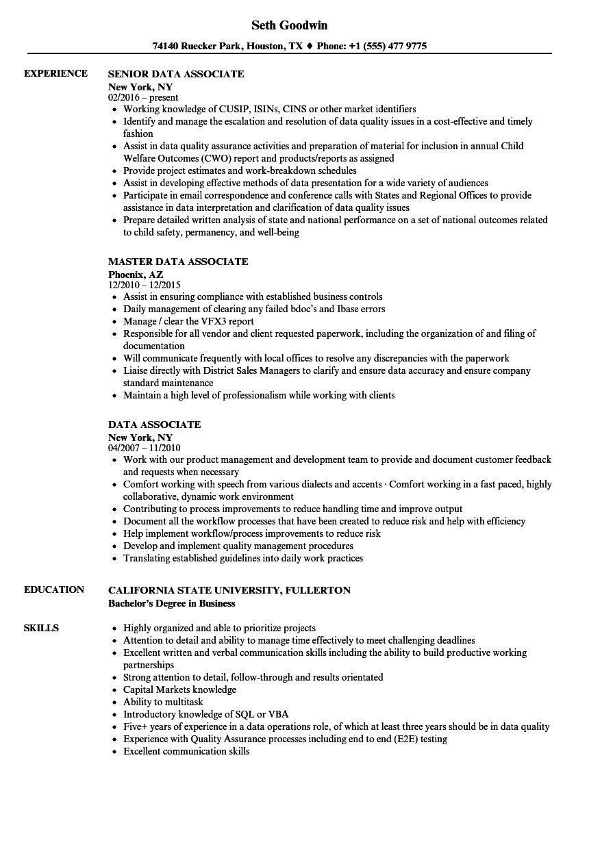 data associate resume samples