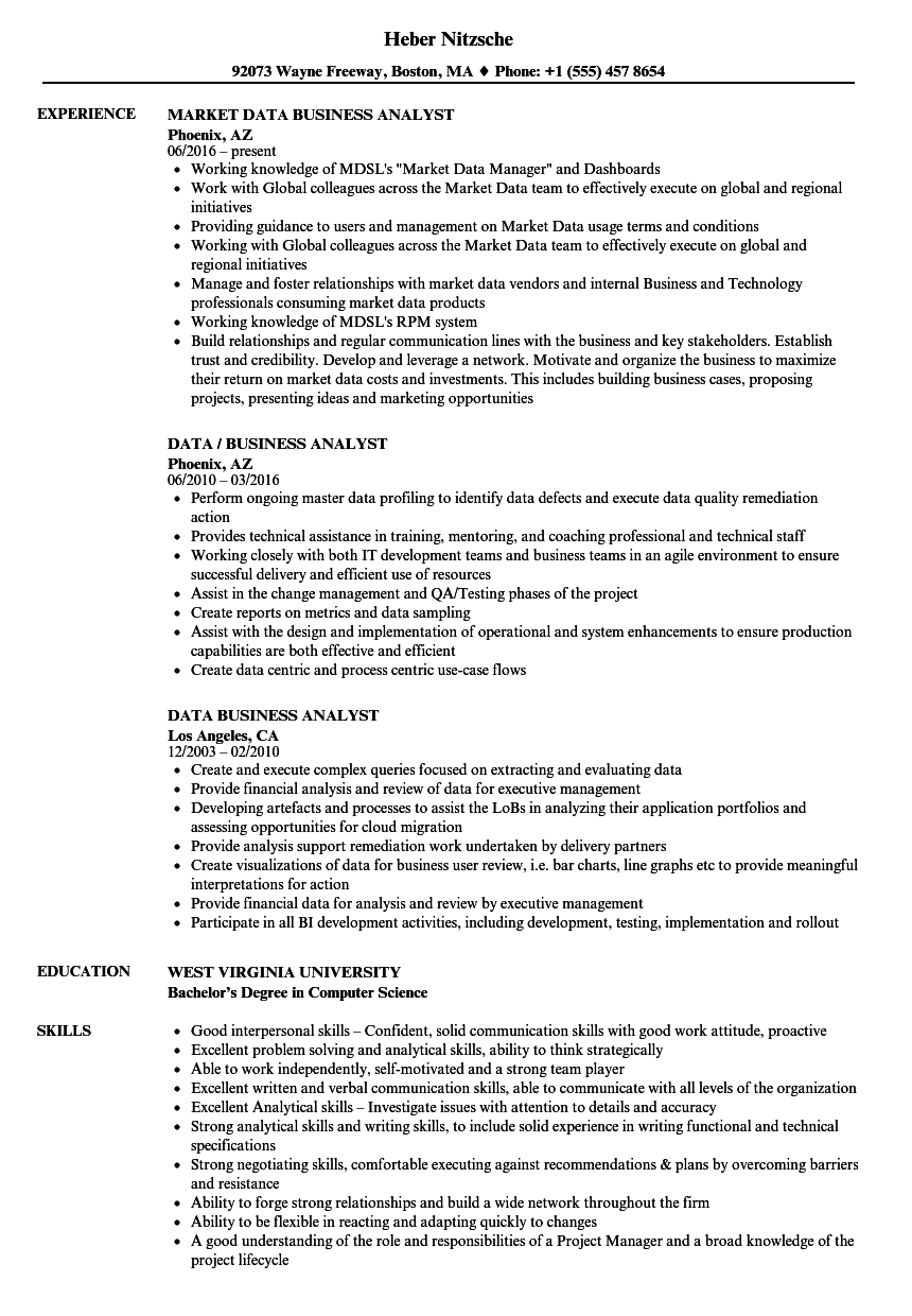 Download Data Business Analyst Resume Sample As Image File