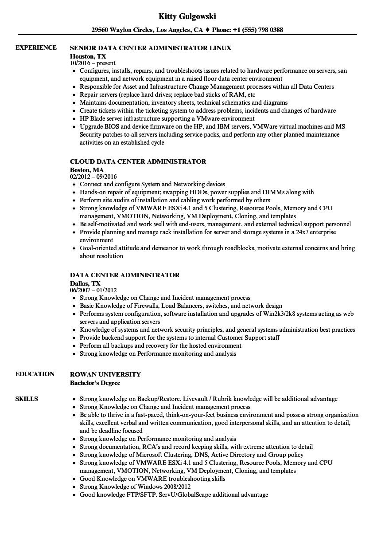 data center administrator resume samples velvet jobs