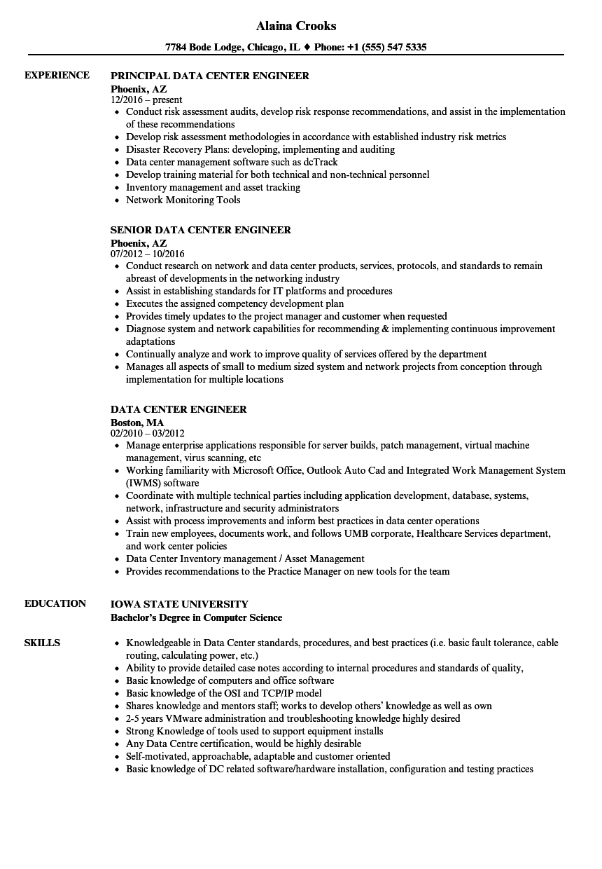 data center engineer resume samples