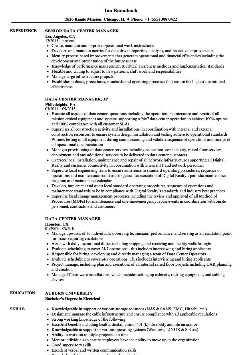 data center manager resume samples velvet jobs
