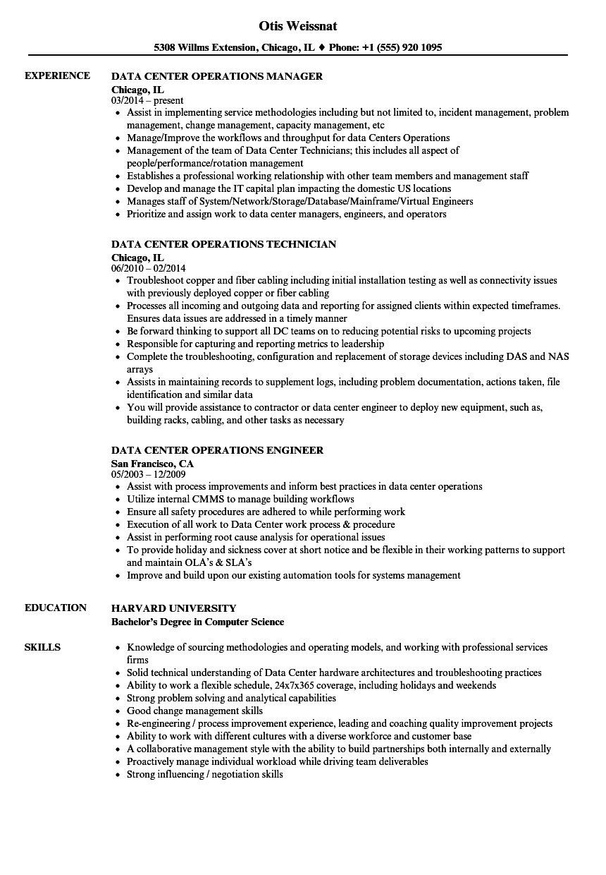 download data center operations resume sample as image file - Fixed Base Operator Sample Resume