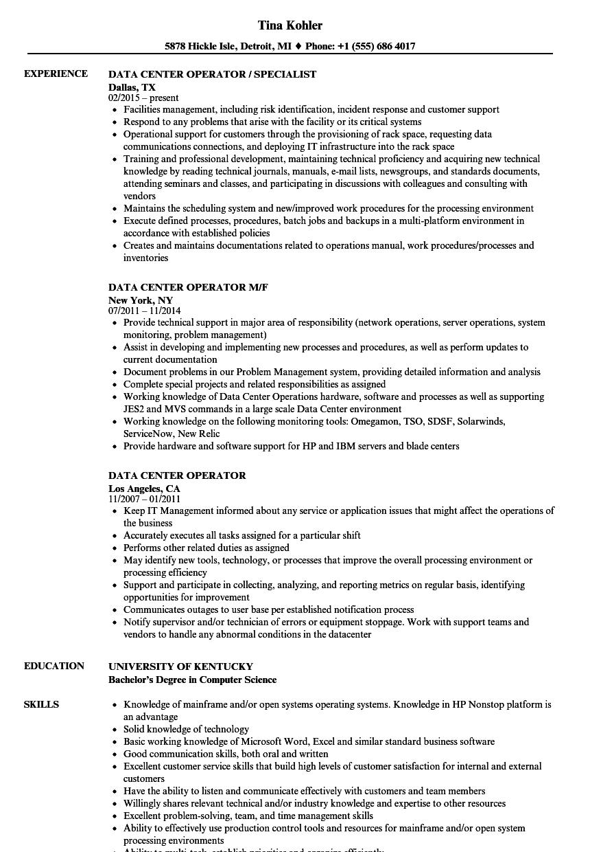 data center operator resume samples