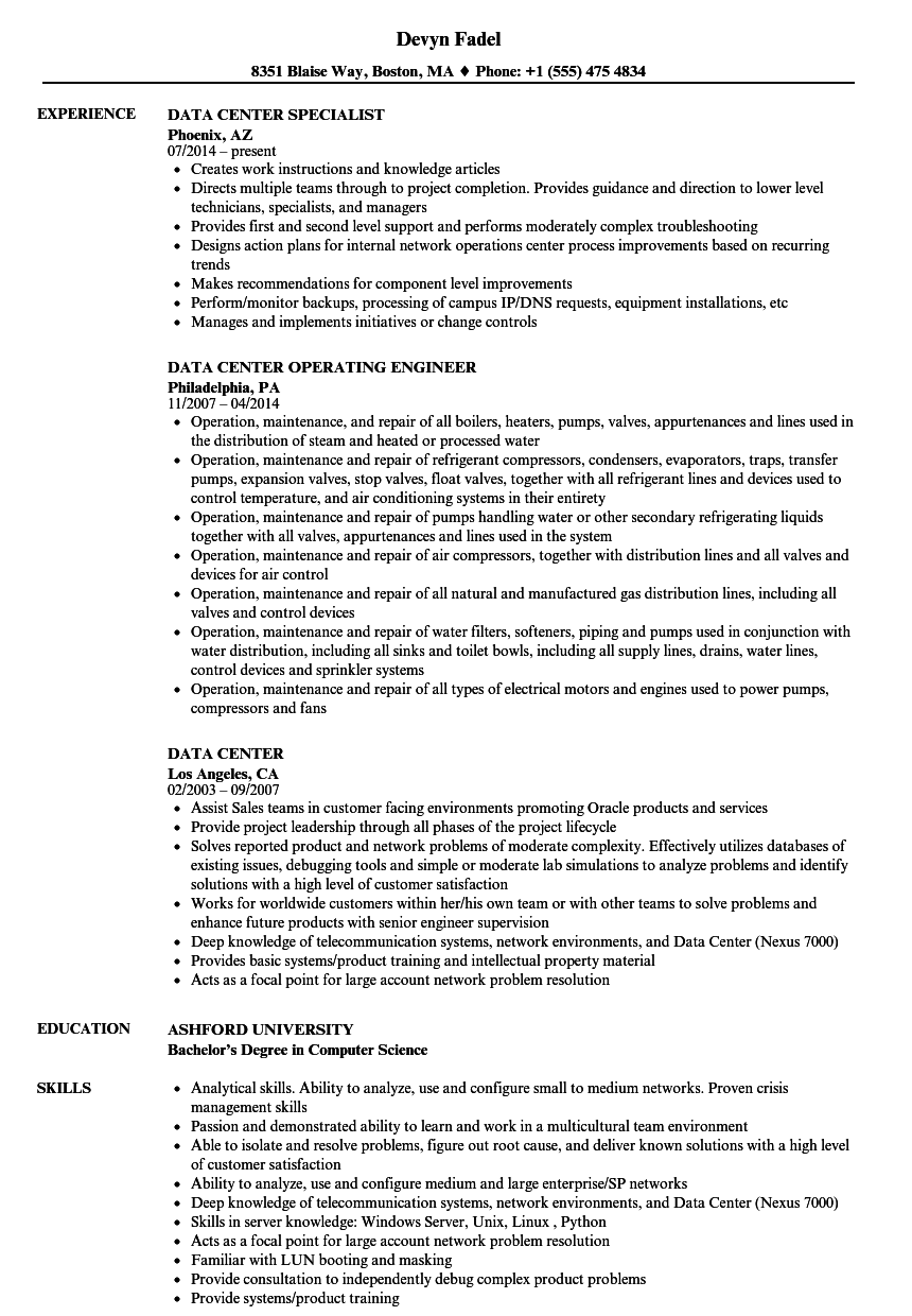 data center resume samples