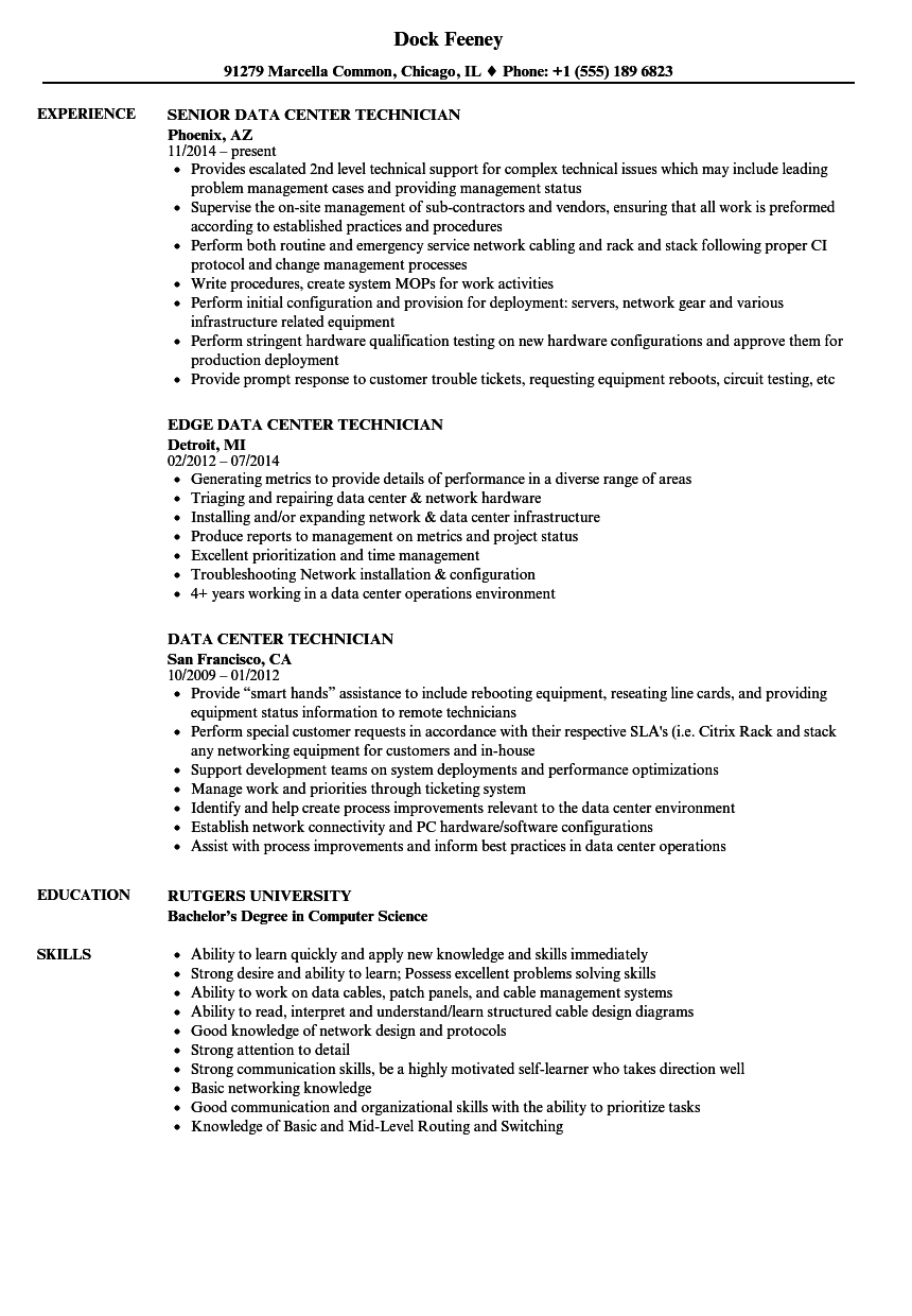 Data Center Technician Resume Samples | Velvet Jobs