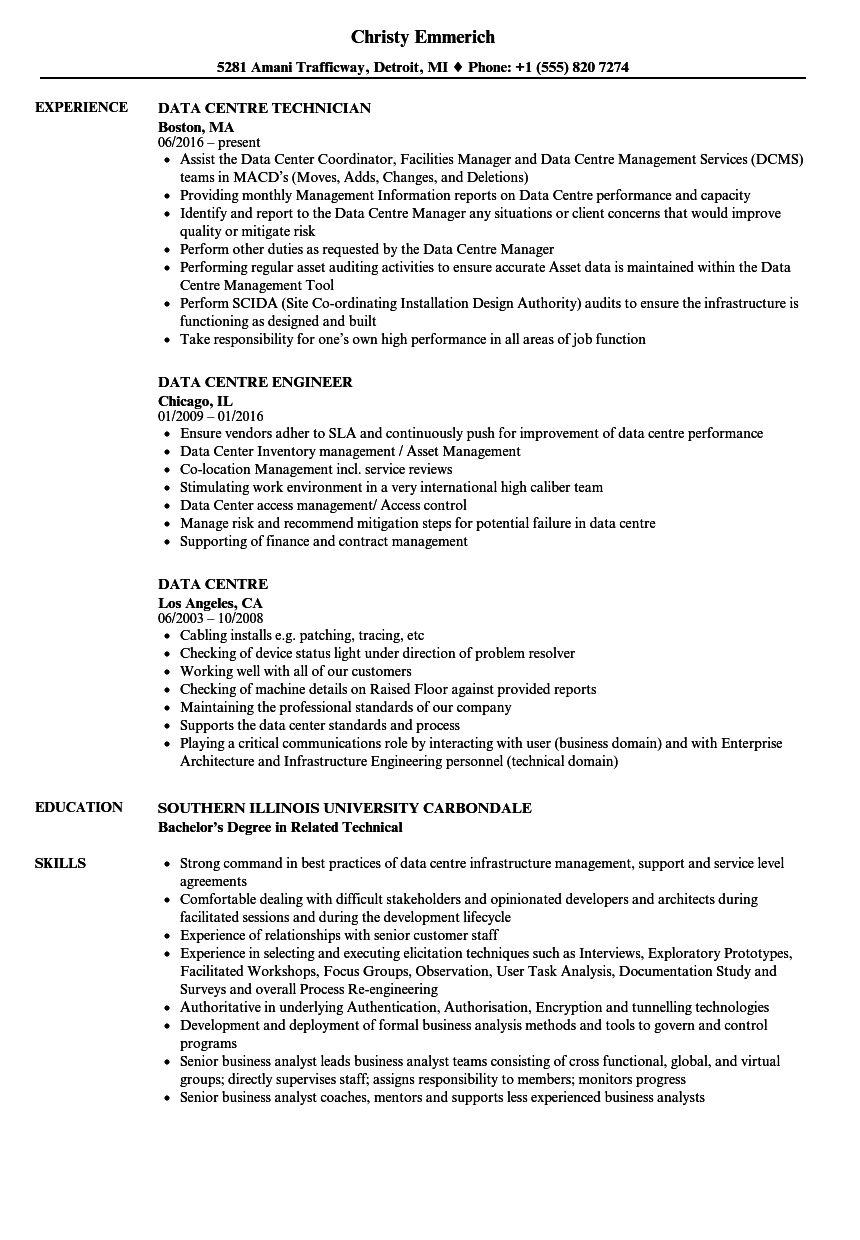 Data Centre Resume Samples | Velvet Jobs