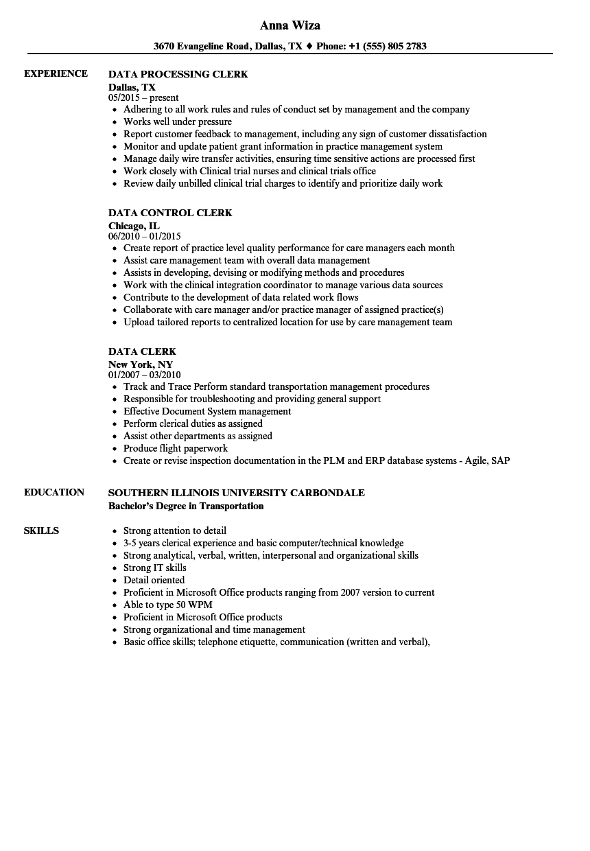 Data Clerk Resume Samples | Velvet Jobs