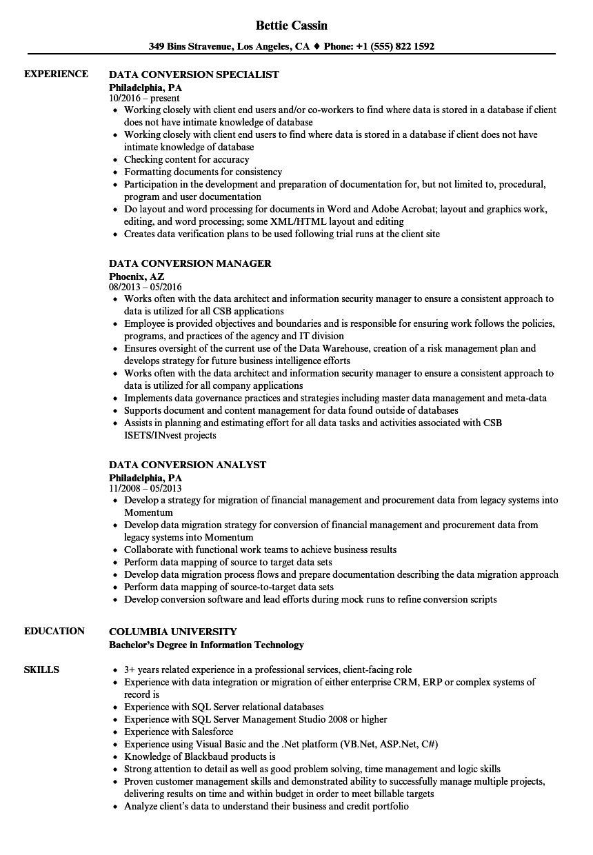 data conversion resume samples