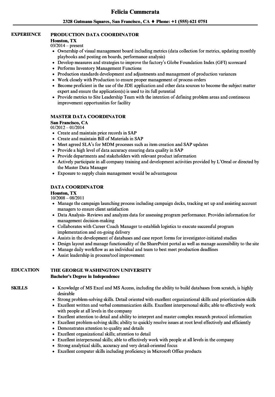 data coordinator resume samples