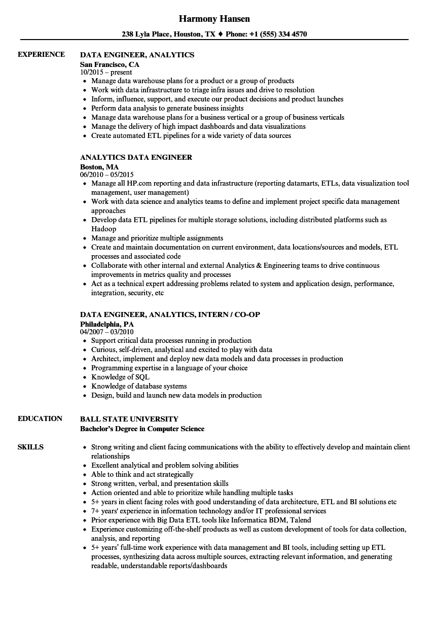 data engineer  analytics resume samples