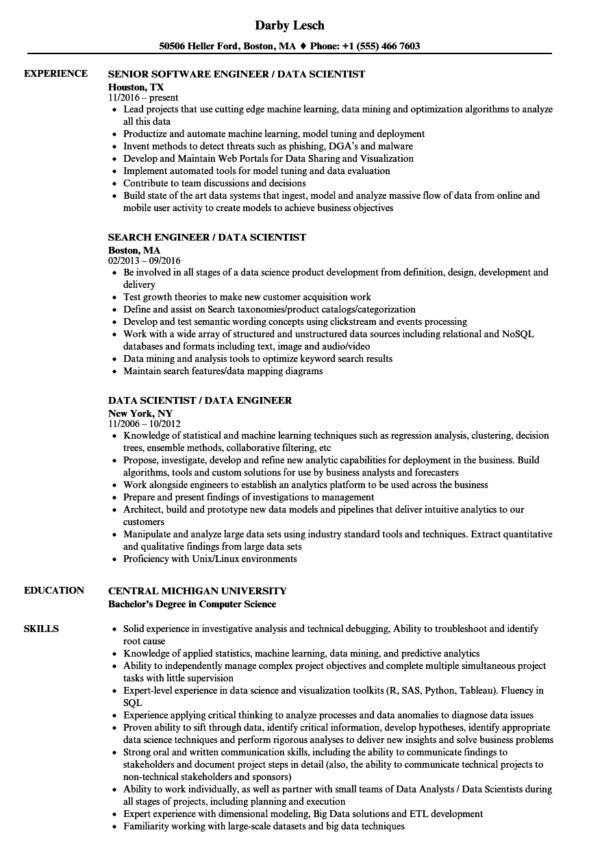 data engineer    data scientist resume samples