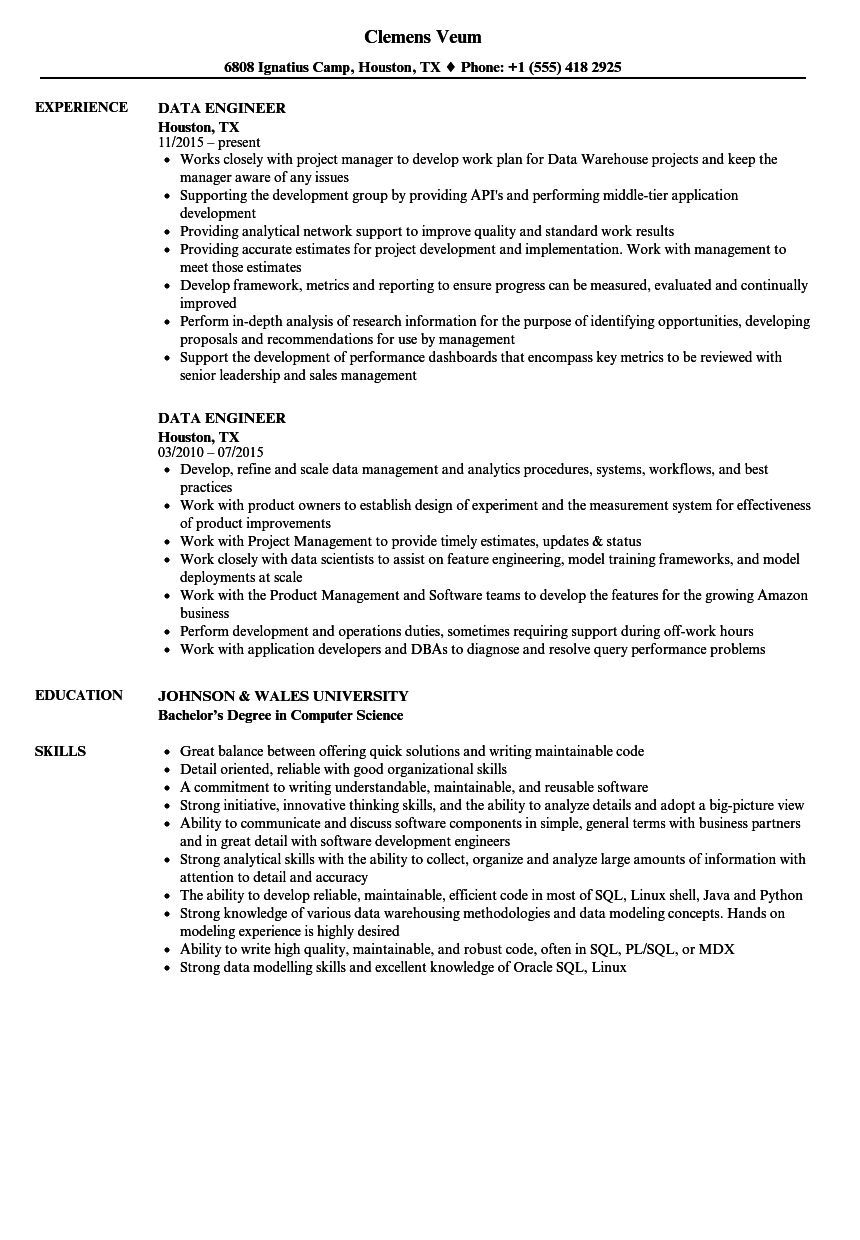 data engineer resume samples velvet jobs