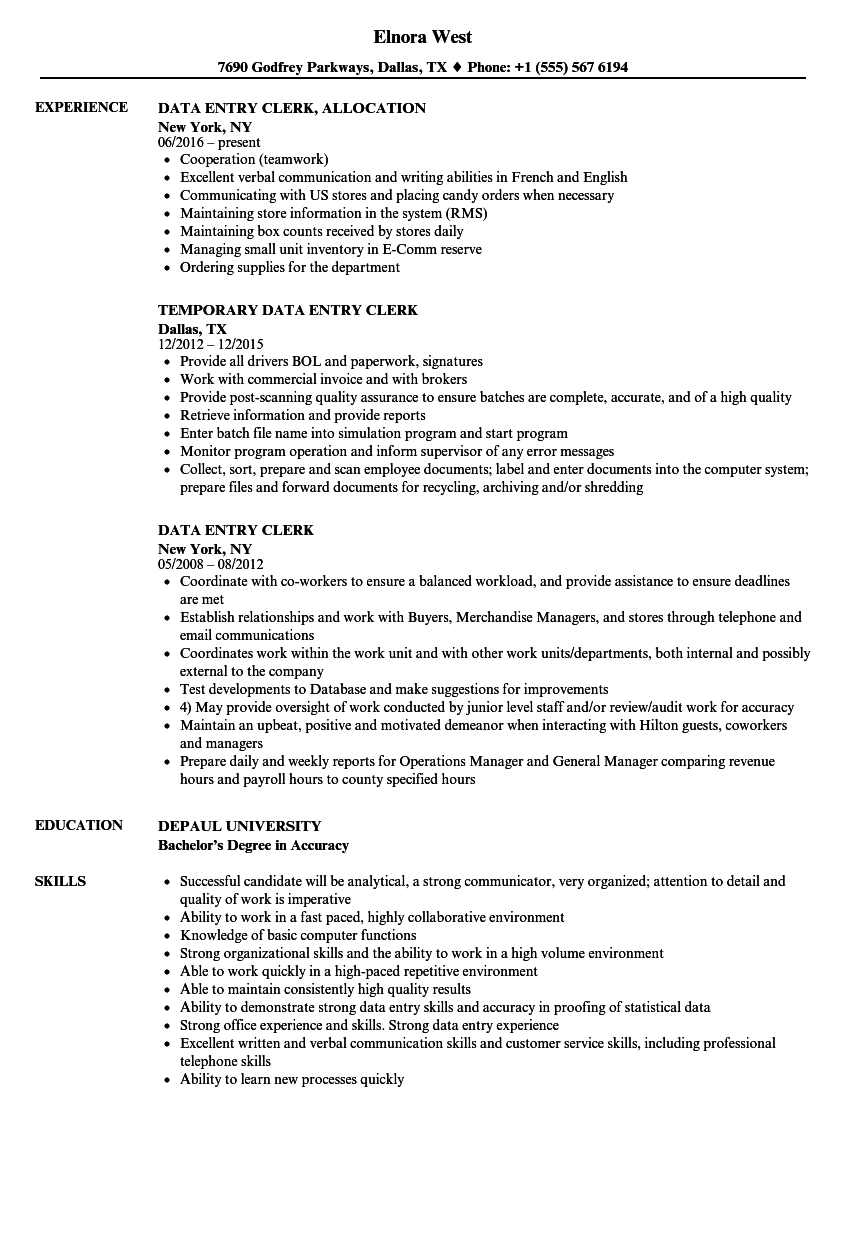 Data Entry Clerk Resume Samples Velvet Jobs