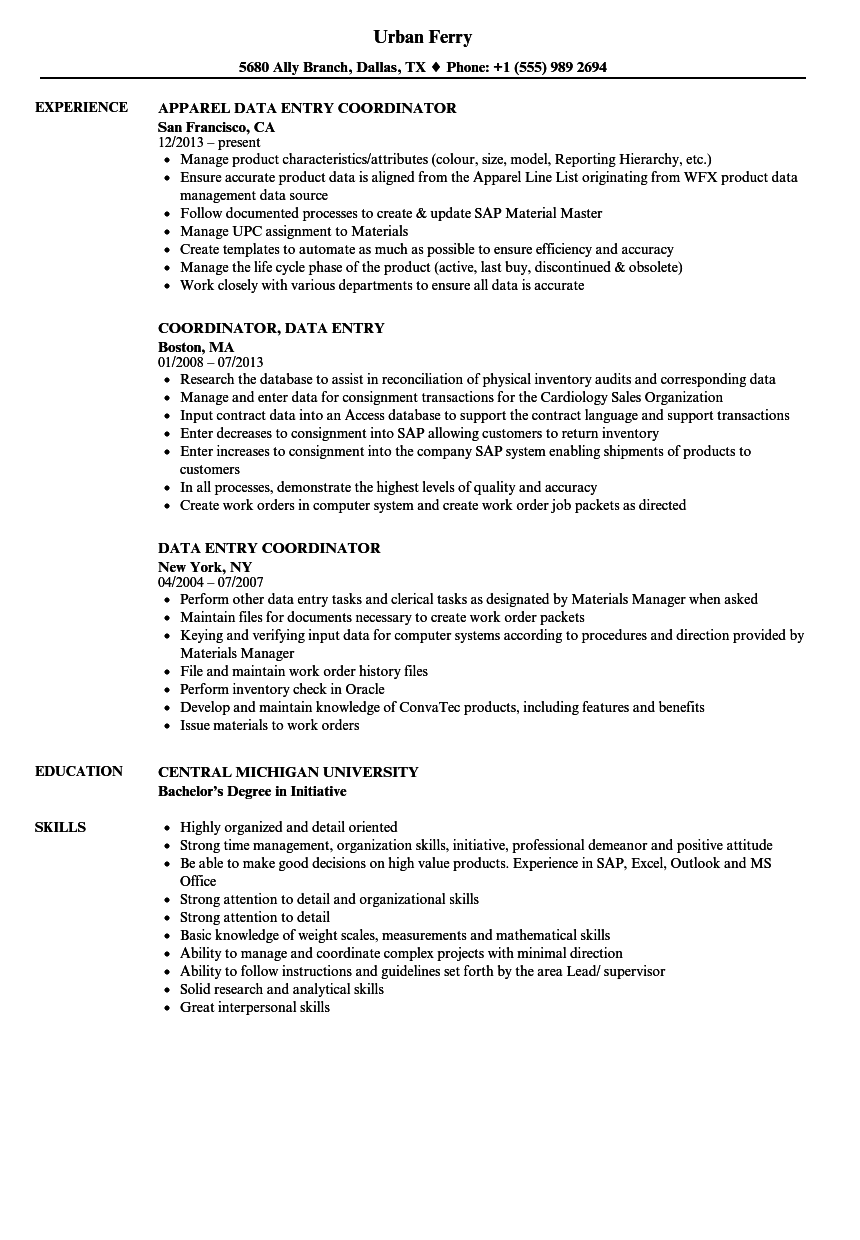 Data Entry Coordinator Resume Samples Velvet Jobs