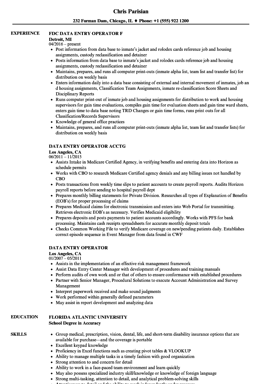 Data Entry Operator Resume Samples