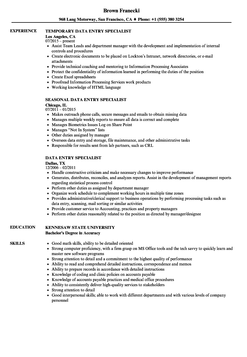 Data Entry Specialist Resume Samples | Velvet Jobs