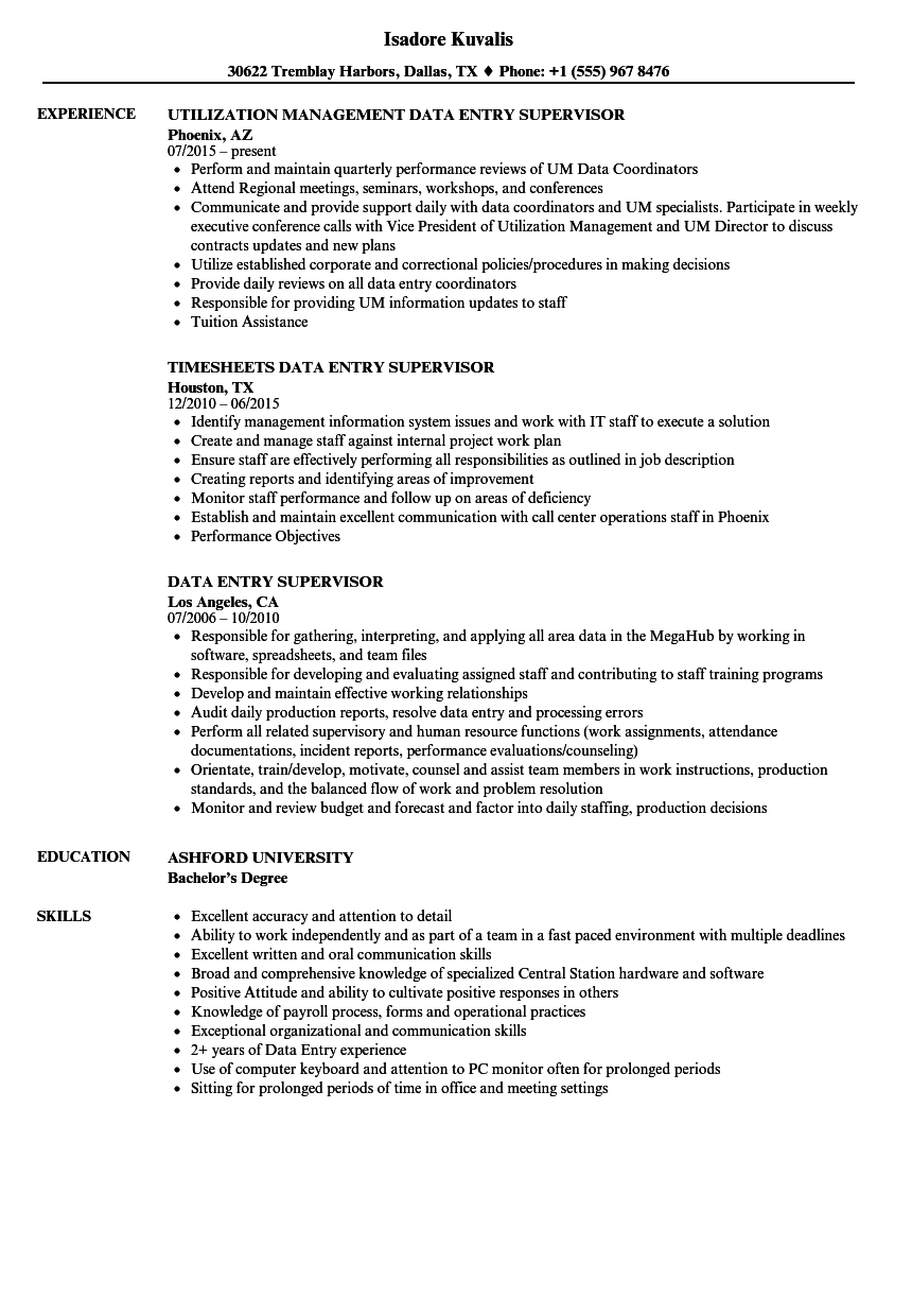 download data entry supervisor resume sample as image file - Resume Data Entry Description
