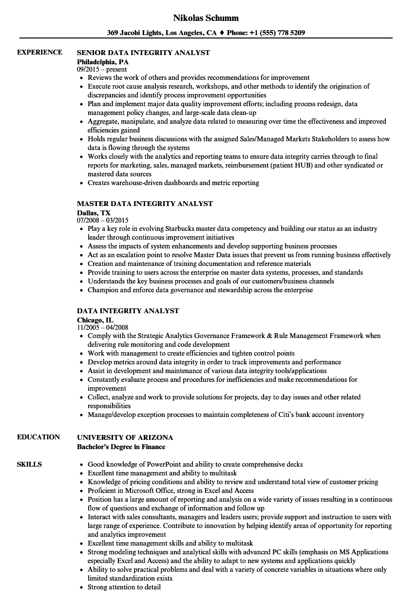 data integrity analyst resume samples