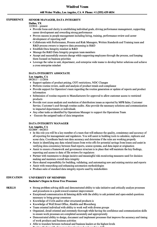 data integrity resume samples