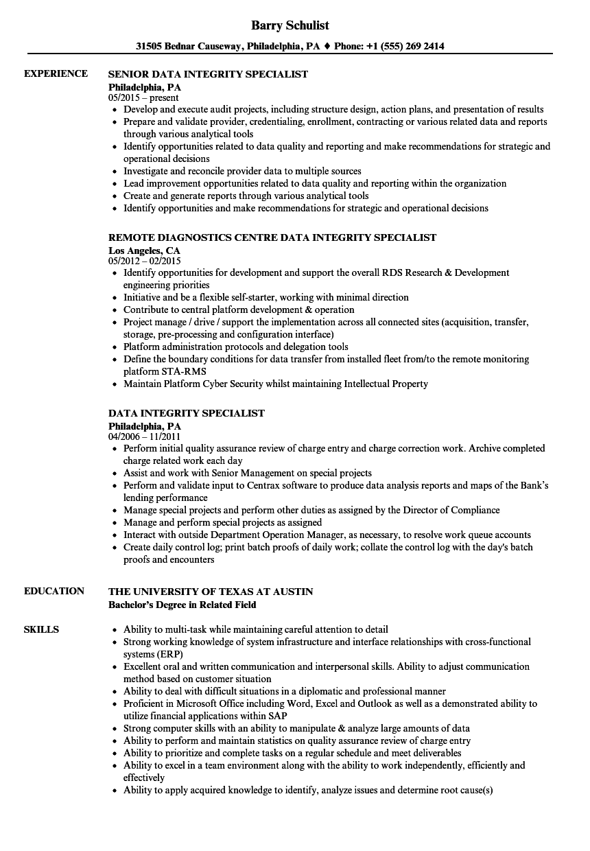 data integrity specialist resume samples