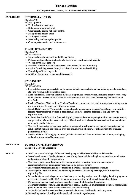 Data Intern Resume Samples | Velvet Jobs