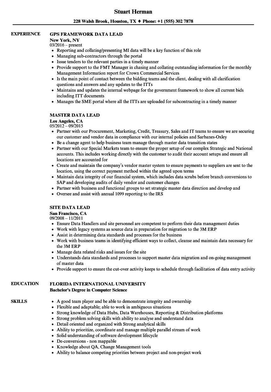 Data Lead Resume Samples | Velvet Jobs