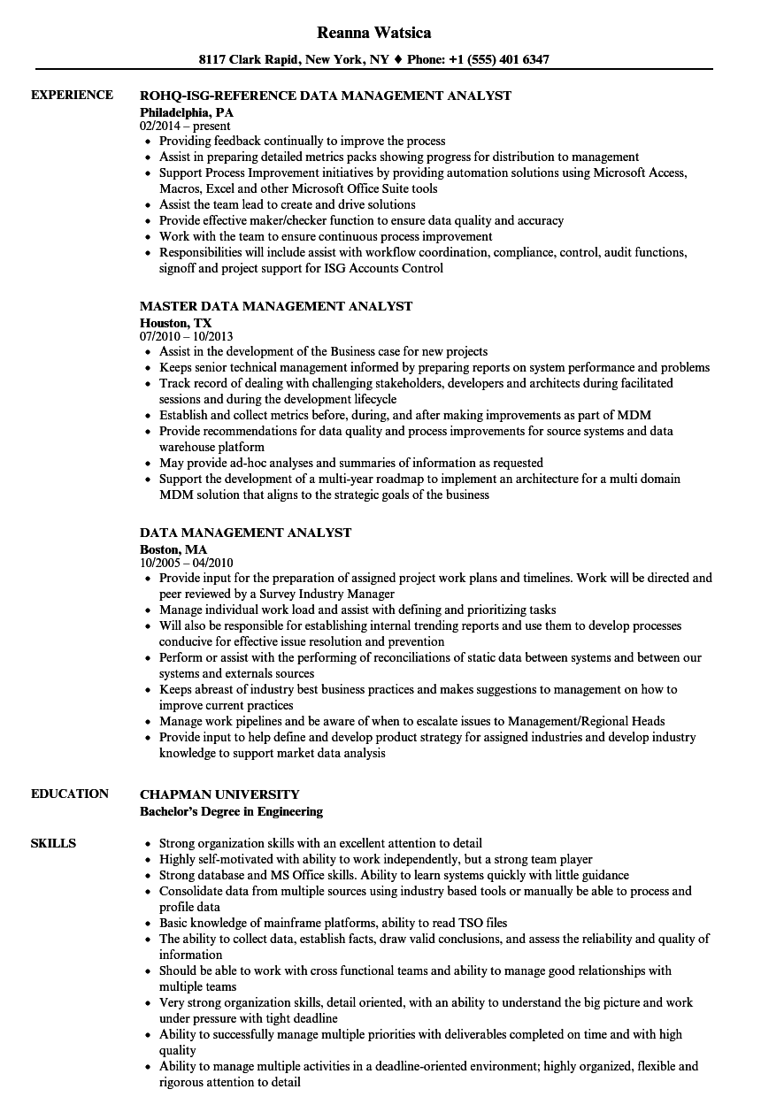 Data Management Analyst Resume Samples Velvet Jobs