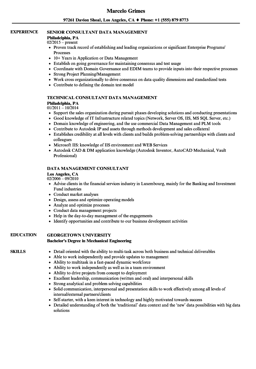 Data Management Consultant Resume Samples | Velvet Jobs