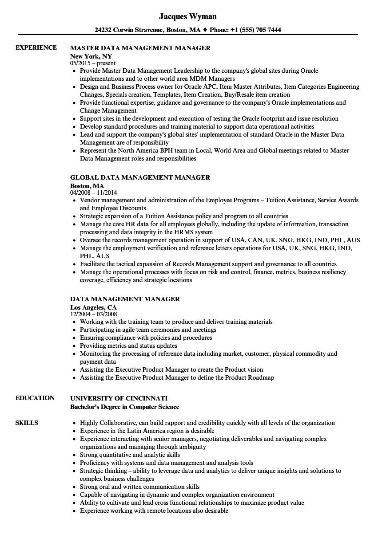 Data Management Manager Resume Samples | Velvet Jobs