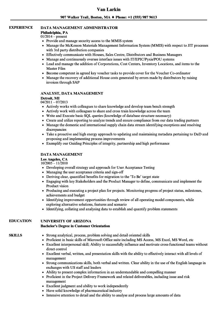 data management resume samples