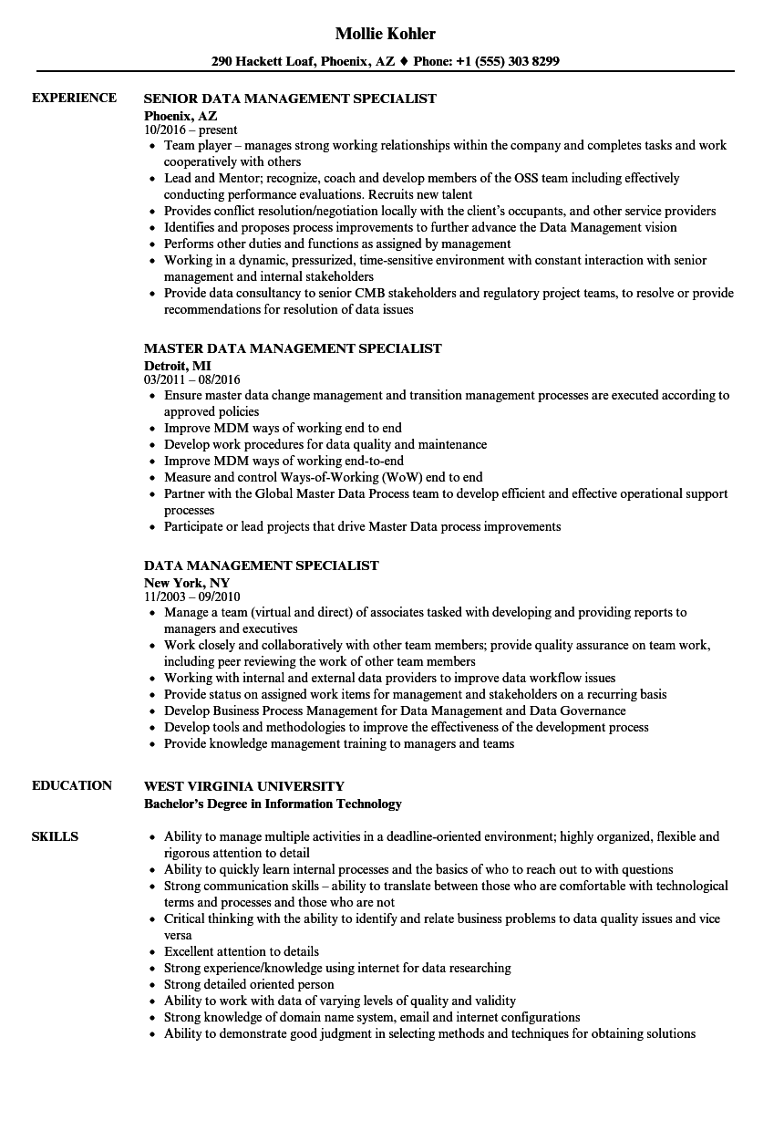 Data Management Specialist Resume - Professional Resume Templates •