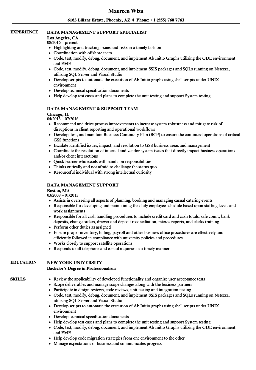 data management support resume samples