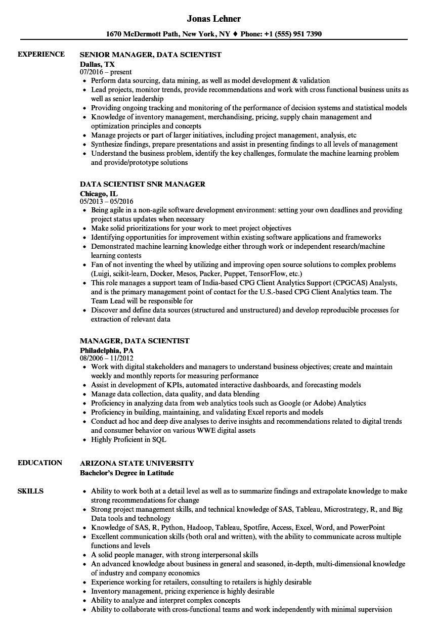 data manager    data scientist resume samples