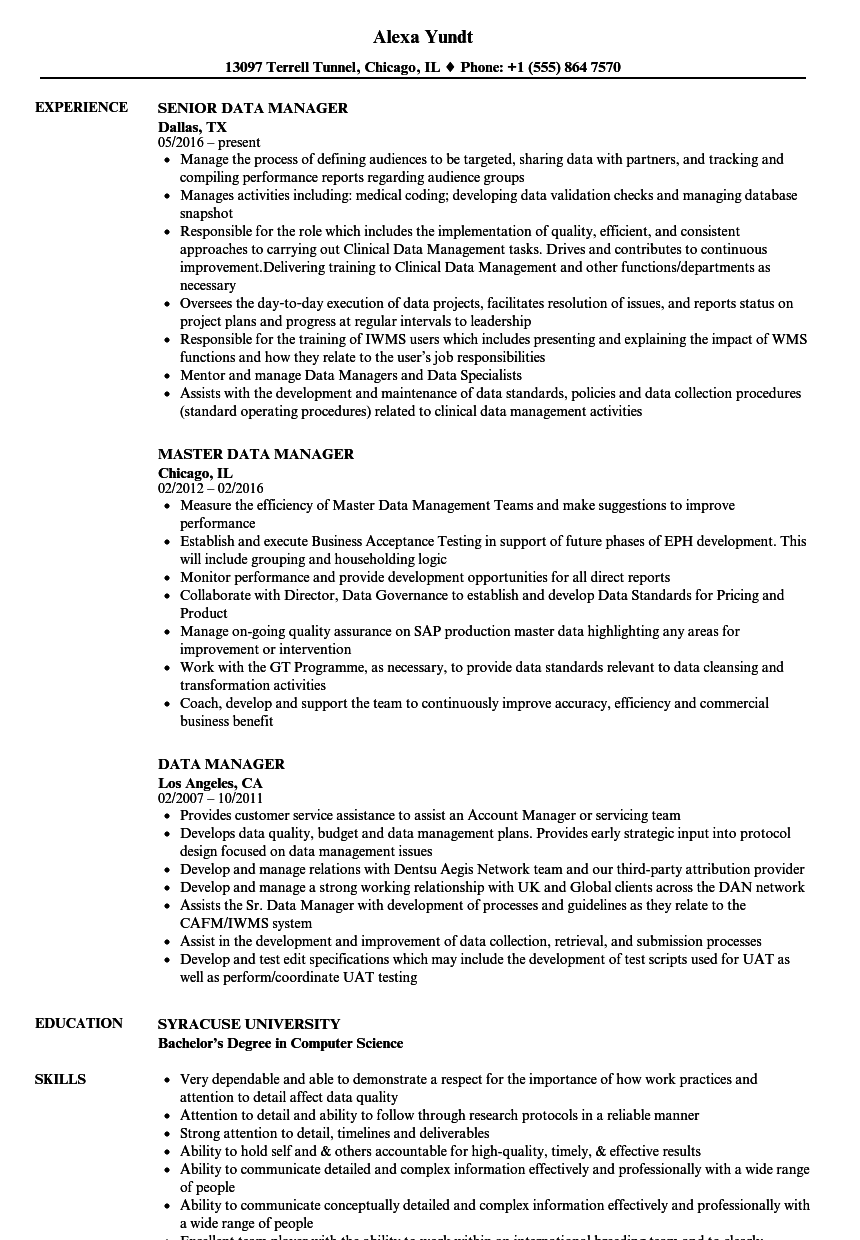 data manager resume samples