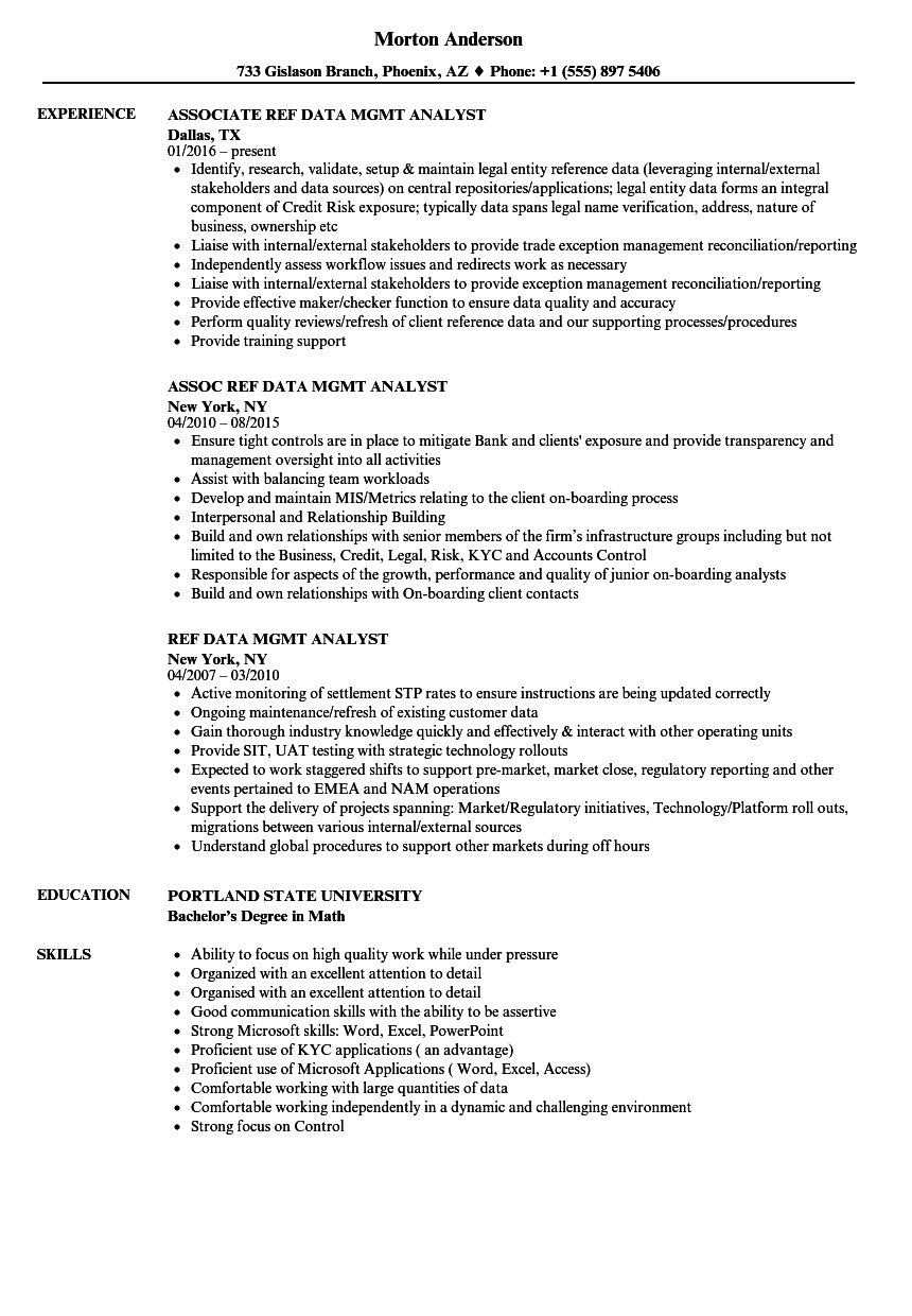 data mgmt analyst resume samples